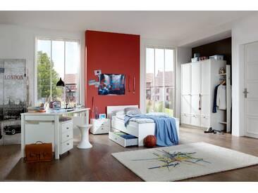 Jugendzimmer -Set FILOU 7tlg Komplettset Bett Bettkästen Schrank Garderobe Nachttisch Schreibtisch mit Rollcontainer in Alpinweiß