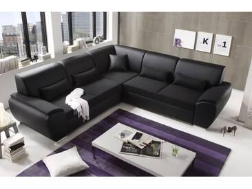 Ecksofa Kombiecke Antara Couch Schlafcouch Bettsofa Sofabett Funktionssofa ausziehbar Lederlook schwarz 272 cm