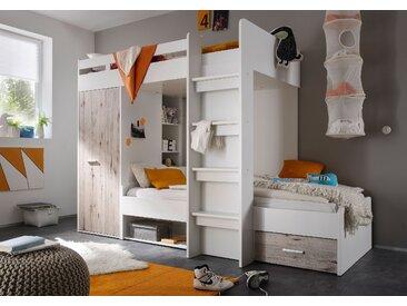 """Hochbett """"MAXI"""" Jugendbett Kinderbett Bett mit Stufen Kleiderschrank Bettkasten Weiß Sandeiche"""