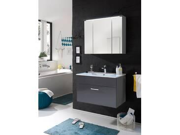 Badmöbel SPLASH 2-tlg Badezimmer Set Badmöbel Badezimmermöbel grau