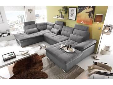 Couch Jakarta Wohnlandschaft Sofa Lederlook Schlaffunktion Schlafsofa dunkelgrau grau Ottomane Links 324 cm