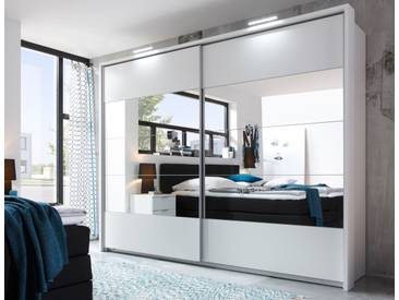 Schwebetürenschrank PENTA 5 Kleiderschrank Schrank Schlafzimmer Weiß mit Spiegel, Rahmen, Beleuchtung