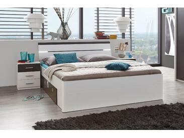 Doppelbett Bettanlage + 2 Nachtkommoden MARS Bett Ehebett Schlafzimmer 180 x 200 cm weiß lava grau