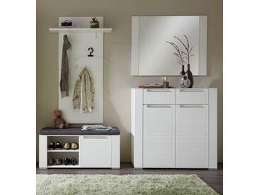 Garderobe DINARO 4-TLG Paneel Spiegel Schuhkommode Bank Weiß