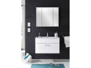 Badmöbel SPLASH 2-tlg Badezimmer Set Badmöbel Badezimmermöbel in Weiß Abs Weiß Hochglanz