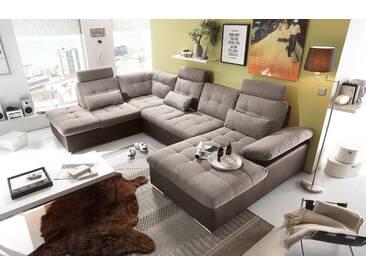 Couch Jakarta Wohnlandschaft Sofa Lederlook Schlaffunktion Schlafsofa braun beige Ottomane links 324 cm