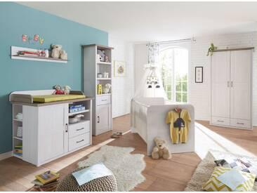 Babyzimmer-Set LUCA 5tlg Wickelkommode Babybett Standregal Wandregal Kleiderschrank 2türig  Pinie weiß