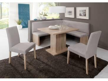 Eckbankgruppe CHARLEEN Eckbank Tisch Sitzgruppe Küche Esszimmer / Eiche Sonoma Dekor, silbergrau