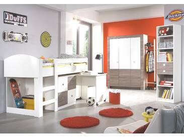 Jugendzimmer-Set Komplett KIRA 6tlg. Hochbett Schrank Garderobe Regal Eiche Sägerau