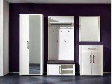 Garderobe GO 5-tlg Garderobenschrank Paneel Bank Schuhschrank Spiegel weiß hochglanz