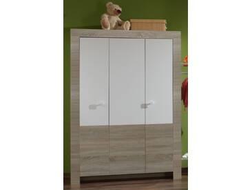 Kleiderschrank KIRA 3-türig Schrank ohne Schubladen Kinderzimmer Eiche Sägerau