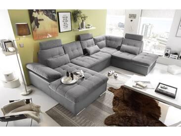 Couch Jakarta Wohnlandschaft Sofa Lederlook Schlaffunktion Schlafsofa dunkelgrau grau Ottomane Rechts 324 cm