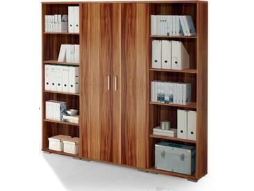 Regalwand OFFICE LINE Regal Regal-Set Aktenschrank Aktenregal Büro Einrichtung / Walnuss