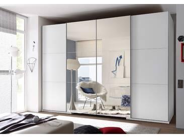 Schwebetürenschrank BIG begehbarer Kleiderschrank Schrank Schlafzimmerschrank 315 x 225 cm Weiß mit Spiegel mit Beleuchtung und Dämpfung