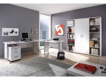 Büromöbel-Set OFFICE LINE Eckschreibtisch Rollcontainer Regalwand Büroeinrichtung weiß