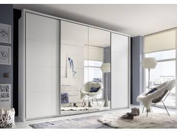 Schwebetürenschrank SYNCRO1 Kleiderschrank Schrank Schlafzimmerschrank 315 x 226 cm weiß Spiegel Dämpfung