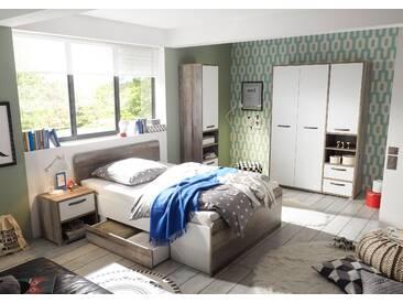 Kinderzimmer-Set MOON Jugendzimmer 4tlg Kleiderschrank Standregal Bett Nachttisch weiß Driftwood