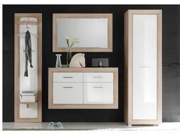 Garderobe FERNANDO 4-tlg Paneel Spiegel Schuhkommode Hängeregal in Sonoma und Abs. weiß Hochglanz