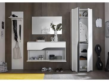 Garderobe WAVE 4-tlg Paneel Schuhkommode Spiegel Hochschrank weiß hochglanz mit Absetzungen grau