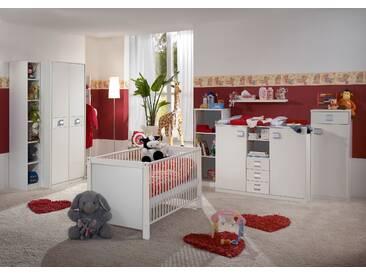 Babyzimmer-Set JALTA 5tlg Komplettset Bett Wickelkommode Schrank Regal Alpinweiß