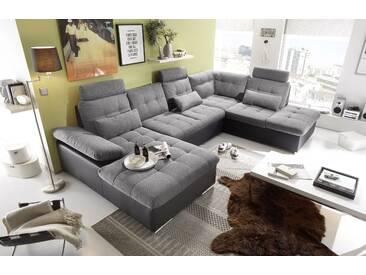 Couch Jakarta Wohnlandschaft Sofa Lederlook Schlaffunktion Schlafsofa schwarz grau Ottomane rechts 324 cm
