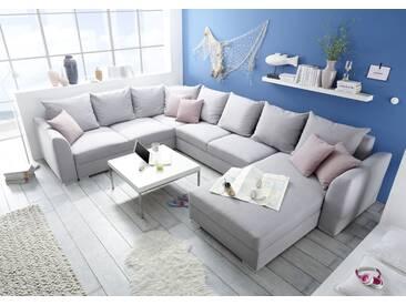 Couch LILLY Sofa Eckcouch Ecksofa Schlafsofa Wohnlandschaft Polsterecke U-Form 361cm silber