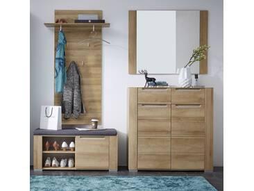 Garderobe DINARO 4-TLG Paneel Spiegel Schuhkommode Bank Eiche hell
