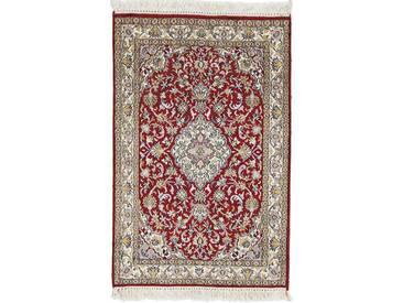Kaschmir Reine Seide Teppich Orientalischer Teppich 94x61 cm, Indien Handgeknüpft Klassisch