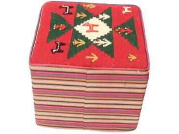 Kelim Hocker Eckig Teppich Orientalischer Teppich 50x50 cm, Quadrat Handgewebt Klassisch