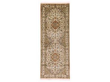 Kaschmir Reine Seide Teppich Orientalischer Teppich 211x81 cm, Läufer, Indien Handgeknüpft Klassisch