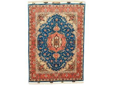 Täbriz 60Raj Seidenkette Teppich Orientalischer Teppich 202x148 cm Handgeknüpft Klassisch