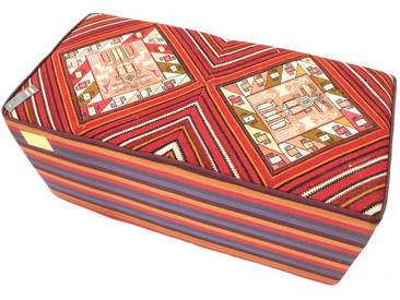 Kelim Hocker Zweier Teppich Orientalischer Teppich 100x50 cm, Läufer Handgewebt Klassisch