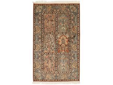 Kaschmir Reine Seide Teppich Orientalischer Teppich 154x93 cm, Indien Handgeknüpft Klassisch