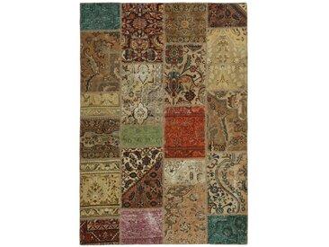 Patchwork Teppich Orientteppich 200x140 cm Handgeknüpft Modern