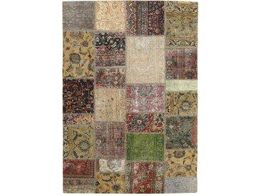 Patchwork Teppich Orientteppich 207x141 cm Handgeknüpft Modern