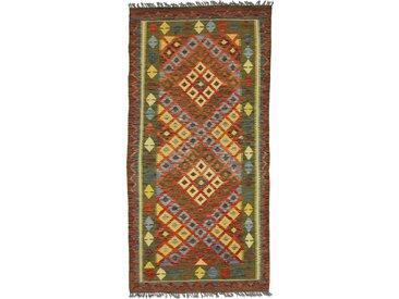 Kelim Afghan Teppich Orientteppich 206x102 cm, Läufer Handgewebt Klassisch