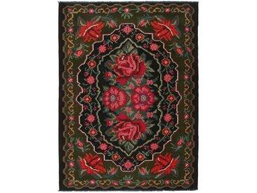 Kelim Rosen Teppich Orientteppich 236x182 cm Handgewebt Klassisch