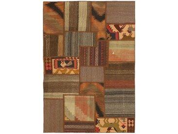 Kelim Patchwork Teppich Orientteppich 152x101 cm Handgewebt Klassisch
