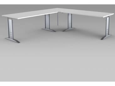 TEC-ART Schreibtisch mit Anbautisch, 160/160x80/80cm