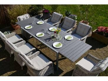 Essgruppe Neapel XL - Tisch verlängerbar 203/305x100cm + 8 Sessel grau Polste...