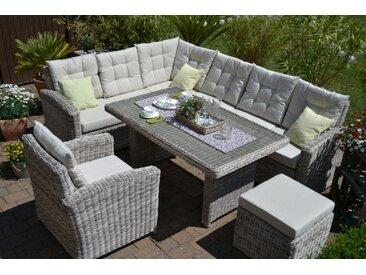 Ecklounge Sitzgruppe Manhattan sand-grau Polster beige (Ecksofa + Tisch + Ses...