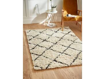 Teppich, orientalisch, Wolle weiß/nachtblau