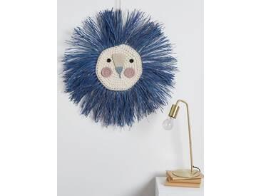 Löwenkopf, gehäkelt aus Bast Ila y Ela® blau