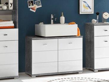 PABLO Waschbeckenunterschrank, Material MDF, betongra / weiss