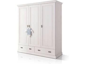 ODETTE Kleiderschrank 3trg Kiefer Massivholz / weiß gewachst