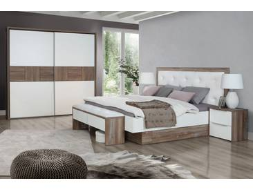 EVANDO Komplett Schlafzimmer Picea Kiefer / Weiss, 220 Cm