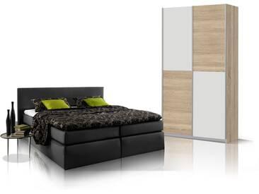 ORENO Schlafzimmerset - Schrank und Boxspringbett, schwarz