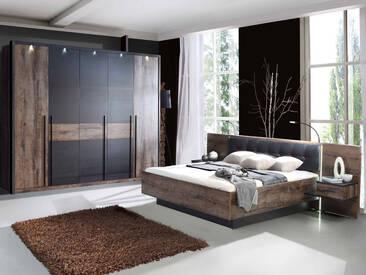 ERLIN Schlafzimmer Schwarzeiche Dekor, 160 x 200 cm