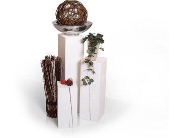 Blumensäulen 3-er Set, Material Massivholz, Fichte massiv, weiss