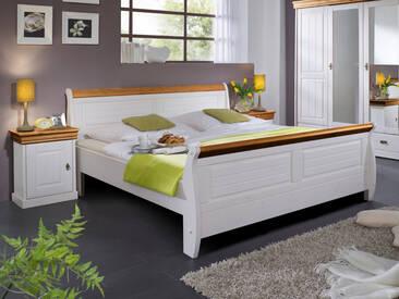 ROMAN Massivholzbett Kiefer Weiß, 100 x 200